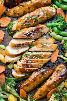 Sheet Pan Teriyaki Chicken and Vegetables Recipe One pot or pan meals don't have to be stove top. Many of the better ones are actually oven roasted. Sheet Pan Teriyaki Chicken and Vegetables Recipe show cases this really well. The juices have a more meand Weeknight Meals, Easy Meals, One Pan Meals, One Pan Dinner Recipes, Best Meal Prep, Cooking Recipes, Healthy Recipes, Healthy Kids, Pea Recipes