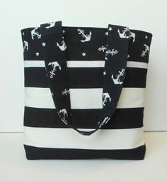 Anchors Away Nautical Navy Blue and White Tote by WrapItUpByG, $24.00