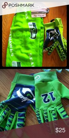 Seahawks scarf and gloves set plus little extra Gloves touch screen and scared plus car decal and hair tie all brand new with tags great ha2ks fan set Accessories
