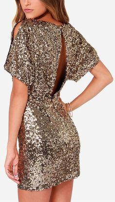 Gold Sequin Mini Dress #NYE #Halloween