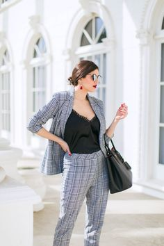 Laura Lily Fashion Travel and Lifestyle Blog, Mad About Plaid, Missguided Plaid Suit, Black Prada Cuir Tote,