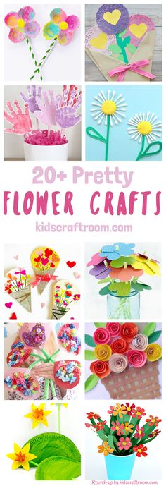 20+ PRETTY FLOWER CRAFTS FOR KIDS - all of them are truly gorgeous! Flower crafts are a fabulously fun way to get creative with the kids in Spring and Summer and they make gorgeous gifts and greeting cards for special occasions too like Mother's Day, Valentine's Day and birthdays.