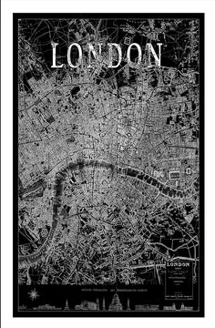 London Map.  Vintage Map of London. City Maps on Synthetic Canvas