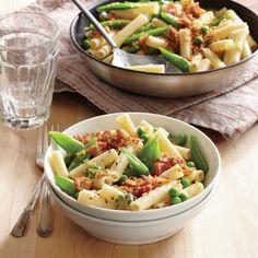 Two-Pea Pasta with Bacon Breadcrumbs | CookingLight.com