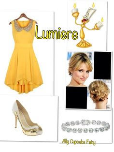 Lumiere I love this dress. and the fact that the hair model is Ms. Agron :) Disney Character Outfits, Disney Themed Outfits, Character Inspired Outfits, Disney Dresses, Princess Inspired Outfits, Disney Princess Fashion, Disney Inspired Fashion, Disney Fashion, Chloe Fashion