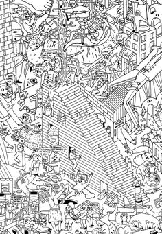 Free coloring page coloring-for-adults-7. Difficult because there is a lot of elements ... a sort of strange 'Where's Waldo'