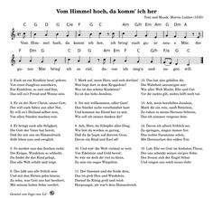 Vom Himmel hoch, da komm' ich her Keyboard Noten, Winter Christmas, Xmas, Ukulele Chords, Sheet Music, Memories, Songs, Archive, Free Christmas Songs