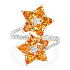 Bague en or et Saphir orange-5684CI   Juwelo Bijouterie