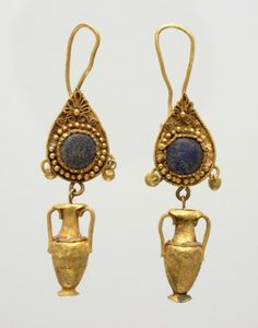 Hellenistic, Pair of earrings with amphora pendants, 3rd century BCE, gold; glass