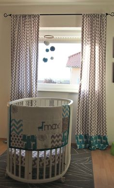 love the Gray Chevron and Teal Giraffe Curtains