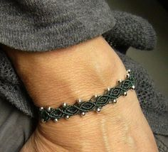 * Bracelets macramé silver pearls * by crochet.jewels on Etsy www. Macrame Jewelry, Macrame Bracelets, Handmade Bracelets, Jewelry Bracelets, Bracelet Crafts, Crochet Bracelet, Jewelry Crafts, Micro Macramé, Bijoux Diy