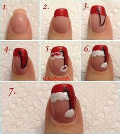 How to paint cute Santa hat nail art manicure step by step DIY tutorial instructions, How to, how to do, diy instructions, crafts, do it yourself, diy website, art project ideas