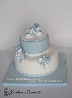Baby Cake                                                                                                                                                                                 More Baby Shower Cake Designs, Baby Shower Cupcakes For Boy, Baby Boy Cakes, Tea Party Baby Shower, Christening Cake Boy, Dummy Cake, Boys 1st Birthday Cake, Sweet Bakery, Fondant Figures