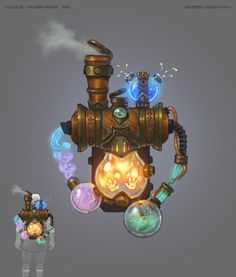 Alchemist's backpack. Thoughts- could coil hoses like this- could also use a large light bulb and hollow it out. Could put crushed ice cubes in it.