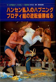 Stan Hansen attacks Dory Funk Jr. while Bruiser Brody assists.