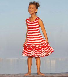 striped sleeveless dancing ruffles dress - Chasing Fireflies