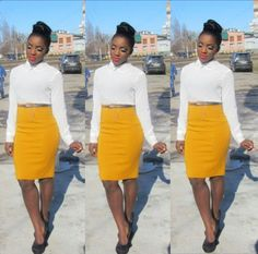 Style: Dressing Up & Down Floral Skirts – Best Fashion Advice of All Time Church Attire, Church Outfits, Office Outfits, Work Dresses For Women, Trendy Dresses, Wedding Dress Gallery, High Waisted Pencil Skirt, Midi Skirt, Women Church Suits