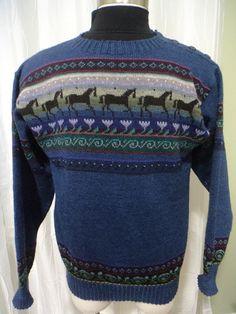 SIRKKA KONONEN Finland Sweater: Blue Wool Sweater, Horse Sweater, Floral,  (Unisex - Men's Extra Large?, Women's XX Large?), Great Condition