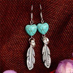 Outstanding Feather Shape Turquoise Dangle Earrings