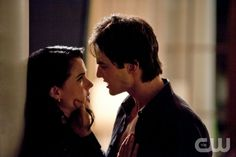 """""""Isobel"""" - Mia Kirshner as Isobel, Ian Somerhalder as Damon in THE VAMPIRE DIARIES on The CW. Photo: Bob Mahoney/The CW ©2010 The CW Network, LLC. All Rights Reserved."""