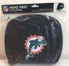 NEW Official NFL Miami Car Headrest Cover Universal Set Of 2 Auto Truck #MiamiDolphins