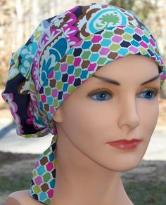Beautiful Women's New Perfect Fit Tie Back Surgical Hat With Top Quality Designer Fabric-BOHO CHECK