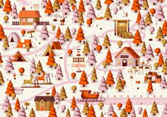 Showcase and discover creative work on the world's leading online platform for creative industries. Christmas Love, Christmas Design, Christmas Projects, Xmas, Pasadena Map, Map Projects, Map Design, Christmas Illustration, North Pole