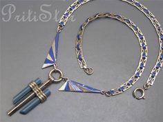 Vintage Art Deco JAKOB JACOB BENGEL Machine Age Enamel Necklace