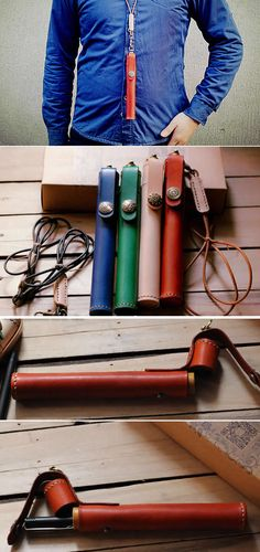 Leather Cylinder Single Pen Pencil Case with Neck Strap
