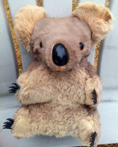 "BIG! 12"" VINTAGE AUSTRALIAN GLASS EYES REAL FUR KOALA BEAR PLUSH STUFFED ANIMAL  $80  THIS IS A VERY GOOD CONDITION VINTAGE REAL FUR GLASS EYES AUSTRALIAN KOALA BEAR PLUSH STUFFED ANIMAL APPROX. 12"" TALL"