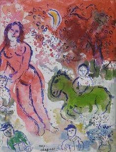 """Marc Chagall, """"Nu Rose"""",  oil, tempera and India ink on canvas laid down on cardboard 35 x 27 cm ; 13 3/4 x 10 5/8 in. Painted in 1980-82."""