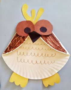 Paper plate owl craft.
