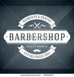 Barber shop vintage retro vector window advertising typographic design template