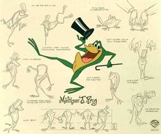 Michigan J. Frog Model Sheet, Original animation art limited edition cel of Michigan J. Frog from Warner Bros Studios. This page links to our main page which has over 5000 pieces of animation art from Disney, Simpsons, Warner, etc. Character Model Sheet, Character Modeling, Character Design, Character Sketches, Tex Avery, Looney Tunes Cartoons, Background Drawing, Poses References, Vintage Cartoon