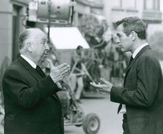 "soundsightmind: Alfred Hitchcock and Paul Newman on set of ""Torn Curtain"" 1966"