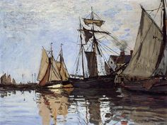 Boats in the Port of Honfleur - Claude Monet