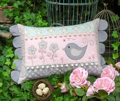 """""""Daisy Doo"""" by Sally Giblin of The Rivendale Collection. Finished cushion size: 14"""" x 23½"""" #TheRivendaleCollection stitchery, appliqué and patchwork patterns. www.therivendalecollection.com.au"""
