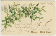 New Year's postcard (1905) with an illustration of Mistletoe. Happy New Year! Image and text courtesy NYPL Digital Collection.