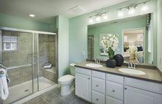 Transitional 3/4 Bathroom with Pendant light, Simple Granite, Double sink, slate tile floors, Simple granite counters