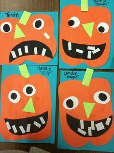 Preschool Halloween Craft - This is how learning shapes in autumn is fun. - Preschool Halloween Craft – This is how learning shapes in autumn is fun. Fall Preschool, Preschool Projects, Daycare Crafts, Classroom Crafts, Toddler Crafts, Preschool Halloween Activities, Preschool Shapes, October Preschool Crafts, Preschool Learning
