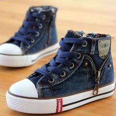 New Arrived Size Children Shoes Kids Canvas Sneakers Boys Jeans Flats Girls  Boots Denim Side Zipper Casual Shoes fb55afa3927c