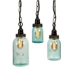Imax Worldwide 87617-3 Set of 3 Lexington Mason 1 Light Jar Pendant
