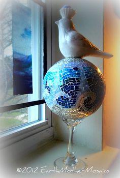"Mosaic, Fine Art Sculpture, Gazing Ball, ""Coasting On The Wings Of Tomorrow""  $181.89 - I adore this!!!   @thisartofmineUS"
