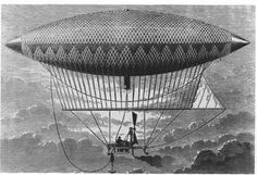 An illustration of Jules Henri Giffard's steam powered airship. In 1852 it flew 17 miles from the Paris Hippodrome to Elancourt. However, it could not make the return trip against the wind. Art Steampunk, Steampunk Festival, Steampunk Airship, Jules Verne, Les Inventions, City Of Columbia, Alternate History, Historical Images, Steam Engine