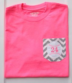 Chevron Pocket Baseball or Softball Tee  by KamBrayBoutique
