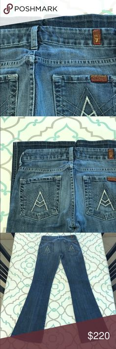 "💙👖Awesome 7FAM A Pocket Jeans👖💙26 1/2 30"" 💙👖Awesome 7 For All Mankind Jeans👖💙 A Pocket. White A's! Probably Were Tag Size 26 (1/2). Fit Like Small 25 (0). 29.75"" Inseam. Great with Flats! 7.75"" Rise. 13"" Across Back. No Fabric Content. No tag. Some Stretch. Medium Fading. Slight Distress. Hemmed. So Cute! Love the A's!!!! 7FAMK! Anthro! Anthropologie! Ask me any questions! : ) 7 For All Mankind Jeans Boot Cut"