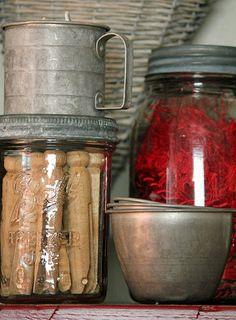 old jars & measuring cups