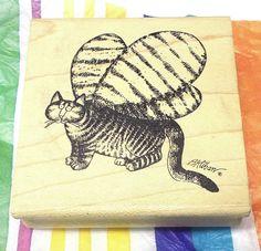 American art stamps Kliban Butterfly rubber stamp wood mounted cat with wings #AmericanArtstamp #KlibancatsCatfelinespetsHumor