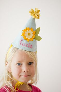 Girls Felt Birthday Hat - Flower - Blue and Yellow by mosey on Etsy https://www.etsy.com/listing/166552098/girls-felt-birthday-hat-flower-blue-and
