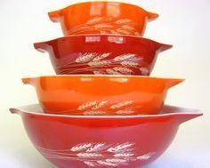 "4 Pc Vintage Pyrex Mixing Bowl Set, ""Autumn Harvest"" Cinderella Bowls 444, 443, 442, 441, 1979 Orange & Red Burnt Sienna"